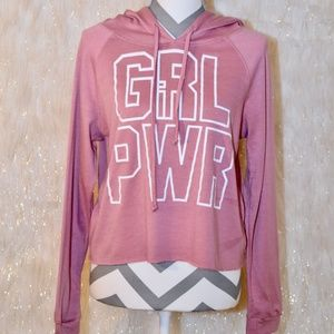 Mauve GIRL POWER Cropped Hoodie